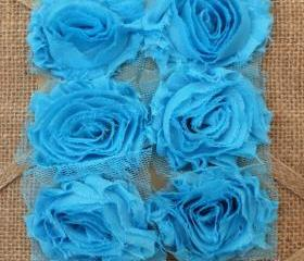 Six Shabby Chic Flowers - Ocean Breeze (Turquoise)