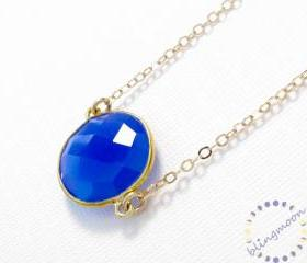 Blue onyx necklace: 22k Vermeil bezel set dark blue gemstone pendant