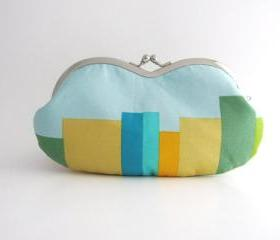 Frame sunglasses case/ Clutch Purse stripes on light blue