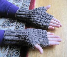 Knit fingerless mittens for men - -taupe heather (G6) Sorry-SOLD