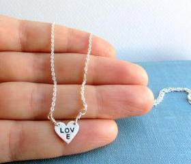 Sterling silver heart necklace on sterling chain - dainty modern jewelry - lunahoo - love heart