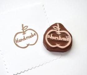 Hand Carved Rubber Stamp / Apple