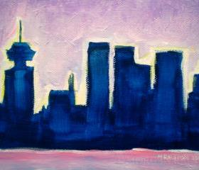 ORIGINAL Acrylic Painting Sundown Vancouver, 5x7 Colorful City Skyline Art
