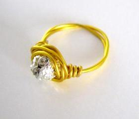 Gold Wire Wrapped Swarovski Ring