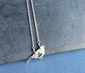 Sterling silver bird and heart necklace. Valentines Day love pendant