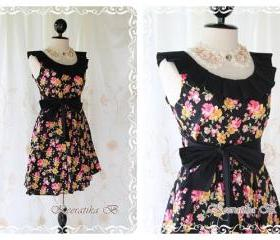 Floral Time - Sweet Cutie Floral Cotton Dress Vintage Inspired Black Pleated Collar With Floral Print XS-S