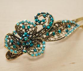Teal Blue Gold Rhinestone Flower Blossom Duck Clip
