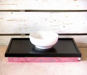 Laptop Lap Desk or Breakfast serving Tray - Black with White and Red Horizontal Striped Lycra Pillow