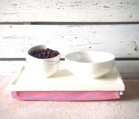 Laptop Lap Desk or Breakfast serving Tray - Off White with White and Red horizontal Striped Lycra Pillow