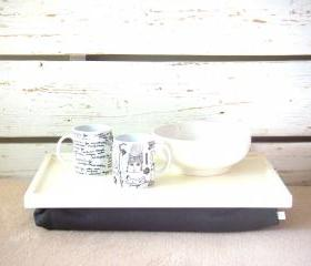 Breakfast serving or Laptop Lap Desk- Off White with Dark Grey Linen farbric- Custom Order
