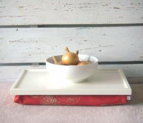 Wooden Laptop Lap Desk or Breakfast serving Tray - Off White with pastel Coral Linen Pillow with embroidery