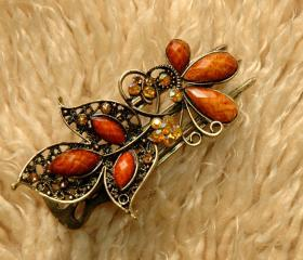 Amber Stones and Rhinestone Butterfly Claw Clips