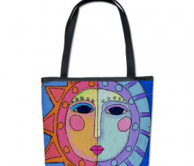 Handbag Shouler Bag Purse Printed with My Funky Abstract Sun and Moon Digital Painting