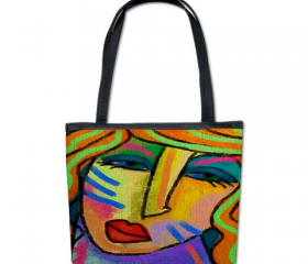 Handbag Shoulder Bag Purse Printed with My Funky Abstract Digital Portrait of a Woman
