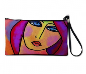 Clutch Purse Clutch Bag Wristlet Printed with My Funky Abstract Digital Portrait of a Woman