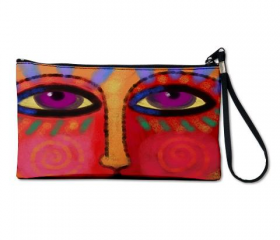 Clutch Purse Clutch Bag Wristlet Printed with My Funky Abstract Digital Painting of a Face
