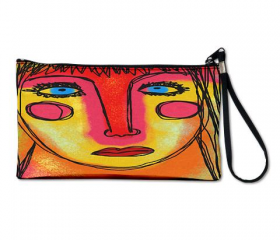 Clutch Purse Clutch Bag Wristlet Printed with My Funky Abstract Digital Painting of a Woman