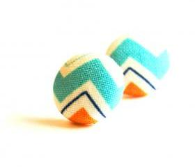 Fabirc Covered Button Stud Earrings Chevron Turquoise