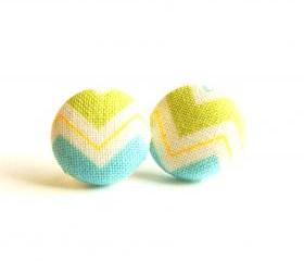 Chevron Fabric Button Covered Stud Earrings - Light Green