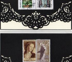 Set of 4 handmade greeting cards featuring vintage postage stamps -- one of a kind -- madonna and child, religious themes