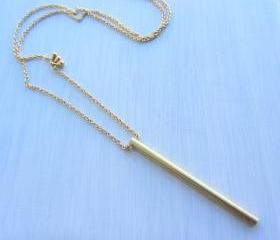 Brass stick bar gold long necklace, gold plated chain, minimalist jewelry.