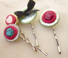 Vintage buttons and stones bobby pins - set of four