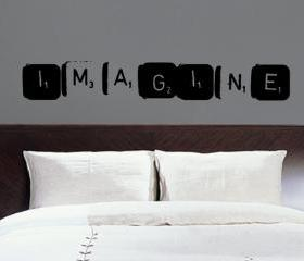 Imagine Scrabble Tile Grunge Style Vinyl Wall Decal 22144