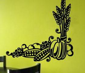 Wall Decal Harvest Bounty Pumpkin Corn Grapes Wheat 22131