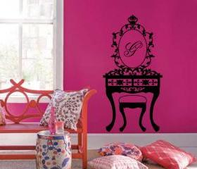 Monogrammed Vanity with Mirror Vinyl Wall Decal 22116