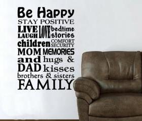 Happy Family Subway Style Sign Vinyl Wall Decal 22155