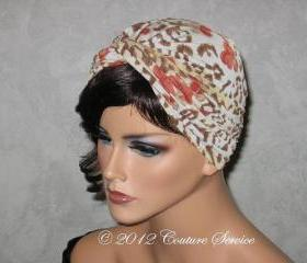 Handmade Twist Fashion Turban -Orange Multicolored, Jaguar Animal Print