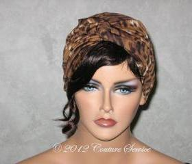 Handmade Twist Fashion Turban - Brown Animal Print