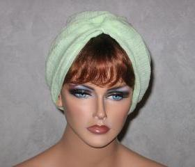 Handmade Twist Fashion Turban -Lime Green Cotton Gauze