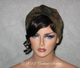 Handmade Twist Fashion Turban -Olive Green Multicolored Tie Dye
