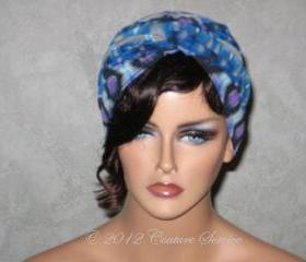 Handmade Twist Fashion Turban -Blue and Grey Multicolored Abstract