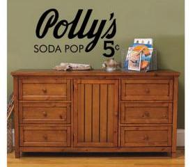 Decal Pollys Soda Pop Antique Style Sign 22149
