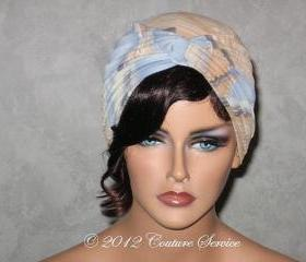 Handmade Twist Fashion Turban -Tan and Blue Abstract