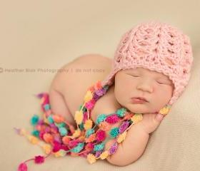 Crochet Little Pom Pom beanie for newborn baby girl in pink - MADE TO ORDER