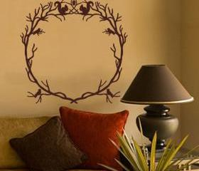 Woodland Branch Wreath With Squirrels and Birds Vinyl Wall Decal 22215
