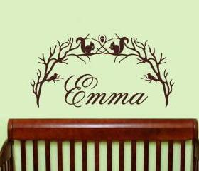 Personalized Woodland Branch Arch With Squirrels and Birds Vinyl Wall Decal 22212