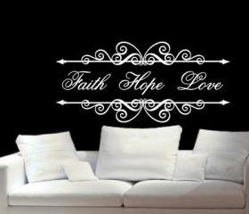 Wall Decal Faith Hope Love Vintage Look Long Sign Frame Vinyl Wall Decal 22200