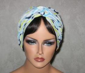 Handmade Twist Turban -Blue, Yellow, White, Multicolored Wave Striped