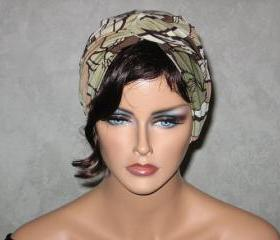 Handmade Twist Fashion Turban -Tan and Brown Multicolored Tropical