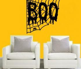 Boo with Spider Web Removeable Vinyl Wall Decal 22208