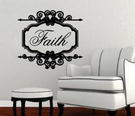 Faith Vintage Look Sign Frame Vinyl Wall Decal 22197