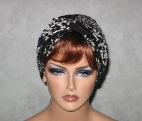 Handmade Twist Fashion Turban -Black and Tan Floral Stripe