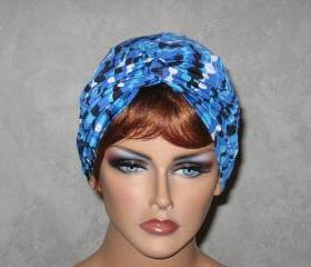 Handmade Twist Turban -Blue String of Beads