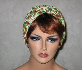 Handmade Twist Turban -Brown,Green, Yellow, Retro