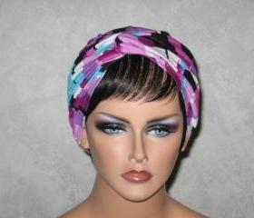 Handmade Twist Fashion Turban -Lilac Purple, Multicolored Dash
