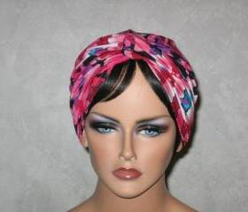 Handmade Twist Fashion Turban -Rose Pink Multicolored Lanterns